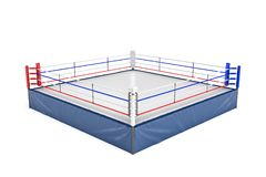 rendu 3d d'un ring vide dans la vue de côté à son coin d'isolement sur le fond blanc Photos libres de droits