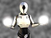 rendu 3D d'un robot androïde femelle tenant des sphères d'énergie Image libre de droits