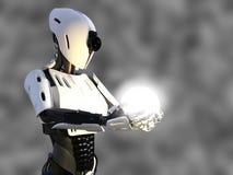 rendu 3D d'un robot androïde femelle tenant la sphère d'énergie Photo libre de droits