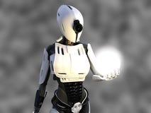 rendu 3D d'un robot androïde femelle tenant la sphère d'énergie Photographie stock libre de droits