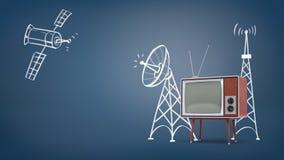 rendu 3d d'un satellite de l'espace dessiné par craie et des tours de satellite près d'un grand rétro poste TV sur des jambes Photos stock