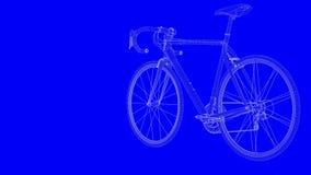 rendu 3d d'un vélo de croquis de mise au point dans les lignes blanches sur un backg bleu illustration de vecteur