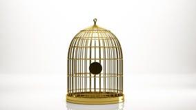 rendu 3d d'or d'une cage à l'intérieur d'un studio Image stock