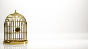 rendu 3d d'or d'une cage à l'intérieur d'un studio Photographie stock libre de droits