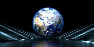 rendu 3d d'une route futuriste avec la sphère de la terre illustration libre de droits