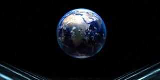rendu 3d d'une route futuriste avec la sphère de la terre illustration stock