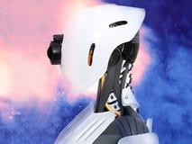 rendu 3D d'une tête androïde femelle de robot avec le backgroun de l'espace Images stock