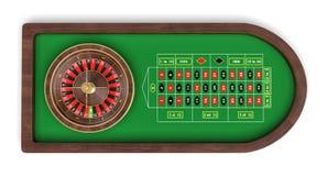 rendu 3d d'une table arrondie d'isolement de roulette couverte de feutre de vert et de grille noire et rouge Images stock