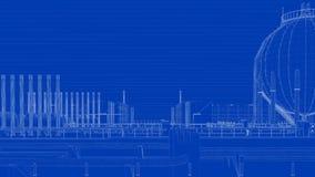 rendu 3d d'une ville industrielle de modèle avec l'objet détaillé illustration libre de droits