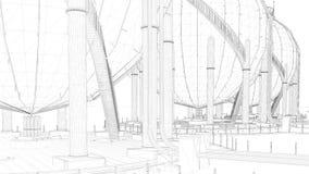 rendu 3d d'une ville industrielle de modèle avec l'objet détaillé Image libre de droits