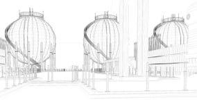 rendu 3d d'une ville industrielle de modèle avec l'objet détaillé Photo libre de droits