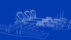 rendu 3d d'une ville industrielle de modèle avec l'objet détaillé Images stock