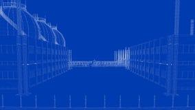 rendu 3d d'une ville industrielle de modèle avec l'objet détaillé Image stock