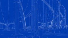 rendu 3d d'une ville industrielle de modèle avec l'objet détaillé Photos stock