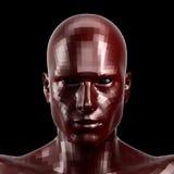 rendu 3d Visage rouge facetté de robot avec des yeux au beurre noir semblant avant sur l'appareil-photo Photographie stock libre de droits