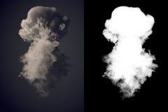 Rendu dangereux du nuage 3d de fumée foncée après une explosion avec le canal alpha illustration stock