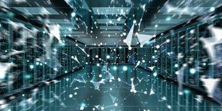 Rendu de échange central des données 3D de cyber de pièce de serveur Images stock