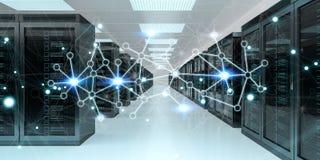 Rendu de échange central des données 3D de cyber de pièce de serveur Image stock