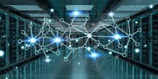 Rendu de échange central des données 3D de cyber de pièce de serveur Photographie stock libre de droits