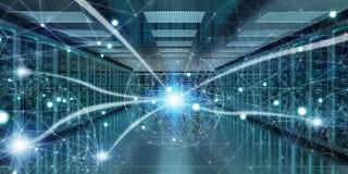 Rendu de échange central des données 3D de cyber de pièce de serveur Photos stock