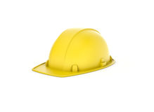 Rendu de casque jaune d'isolement sur le fond blanc Images libres de droits