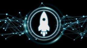 Rendu de démarrage de l'interface numérique 3D de fusée Photo libre de droits