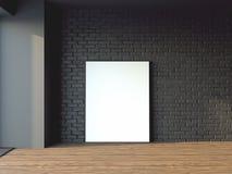 Rendu de l'affiche encadré par maquette intérieure 3d illustration libre de droits
