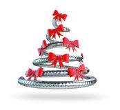 Rendu de l'arbre de Noël en métal 3D, Illustration Stock