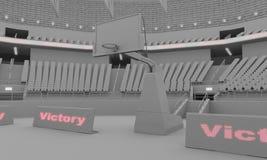 rendu de l'argile 3d du stade de basket-ball avec des lumières illustration stock