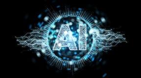 Rendu de l'hologramme 3D des textes d'intelligence artificielle de Digital