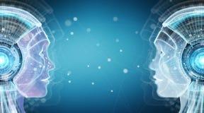 Rendu de l'interface 3D de cyborg d'intelligence artificielle de Digital illustration stock