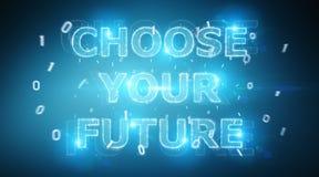 Rendu de l'interface 3D des textes de future décision illustration libre de droits