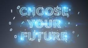 Rendu de l'interface 3D des textes de future décision illustration stock