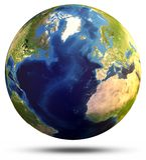 Rendu de la carte 3d de globe de planète Photos stock