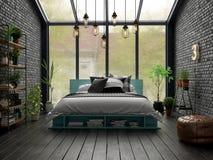 Rendu de la conception intérieure 3D de chambre à coucher Photographie stock libre de droits