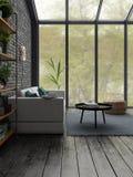 Rendu de la conception intérieure 3D de style de grenier Images stock
