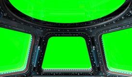Rendu de la fenêtre 3D de station spatiale illustration libre de droits
