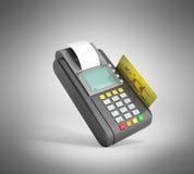 Rendu de la machine 3D de trminal de carte de crédit sur le gris Photos stock