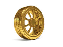 Rendu de la roue 3d d'or de voiture Image libre de droits