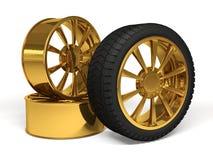 Rendu de la roue 3d d'or de voiture Images stock
