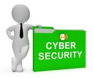 Rendu de la sécurité 3d de menace de Digital de serrure de Cybersecurity Illustration de Vecteur