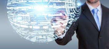 Rendu de la sphère 3D d'hologramme de dessin d'homme d'affaires Photographie stock libre de droits