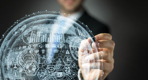Rendu de la sphère 3D d'hologramme de dessin d'homme d'affaires Image stock