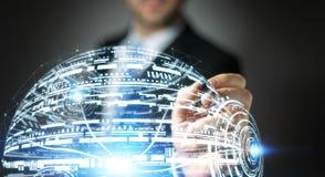 Rendu de la sphère 3D d'hologramme de dessin d'homme d'affaires Photos libres de droits