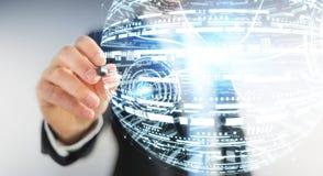 Rendu de la sphère 3D d'hologramme de dessin d'homme d'affaires Images stock