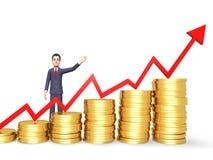 Rendu de Person And Banking 3d du show business de succès de pièces de monnaie Images libres de droits