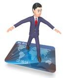 Rendu de Person And Bankruptcy 3d du show business de carte de débit illustration de vecteur