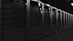 Rendu de salle 3D de serveur, foyer peu profond Opacifiez les technologies, ISP, service informatique d'entreprise, concepts d'af Images libres de droits