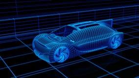 Rendu de Wireframe de la conduite électrique autonome sur la route illustration libre de droits