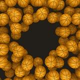 Rendu des basket-balls 3d de fond Images libres de droits